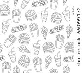 fast food pattern. can be used... | Shutterstock .eps vector #660999172