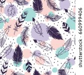 vector  feathers seamless... | Shutterstock .eps vector #660999406