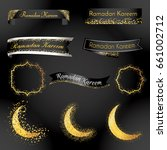 ramadan kareem ribbon and label ... | Shutterstock .eps vector #661002712