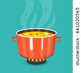cooking soup in pan. pot on... | Shutterstock .eps vector #661020565