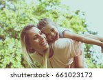 mother and daughter outdoors in ... | Shutterstock . vector #661023172