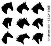 Stock photo horse head silhouettes black silhouette head horse illustration of head wild stallion 661046668
