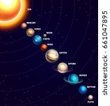 solar system with sun and... | Shutterstock . vector #661047895