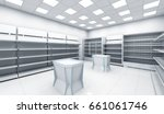 store with empty shelves and...   Shutterstock . vector #661061746