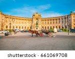 Small photo of VIENNA, AUSTRIA - JUNE 04, 2017: Traditional old-fashioned fiacre at Heldenplatz near Hofburg