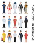 set of diverse occupation and... | Shutterstock .eps vector #661076542