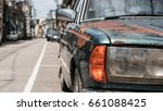 close  up car headlights of old ... | Shutterstock . vector #661088425