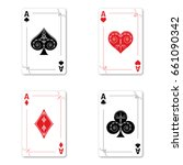 set of four aces of a deck of... | Shutterstock .eps vector #661090342