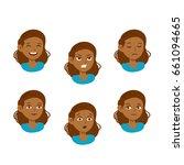 girl vector set  emotions  eps... | Shutterstock .eps vector #661094665
