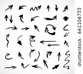 hand drawn arrows  vector set | Shutterstock .eps vector #661106755