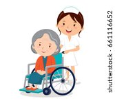 nurse and elderly woman in... | Shutterstock .eps vector #661116652