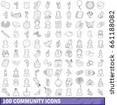 100 community cloud icons set... | Shutterstock .eps vector #661188082
