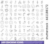 100 coaching icons set in... | Shutterstock .eps vector #661188172