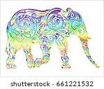 elephant. doodling. zentangle.... | Shutterstock .eps vector #661221532