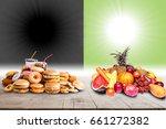 healthy food vs junk food... | Shutterstock . vector #661272382