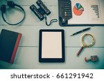 top view mock up tablet similar ... | Shutterstock . vector #661291942