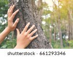 young female hand touching a... | Shutterstock . vector #661293346