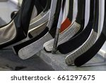 hockey sticks near the locker... | Shutterstock . vector #661297675