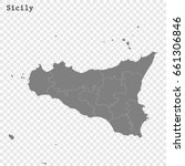 high quality map of sicily is a ... | Shutterstock .eps vector #661306846