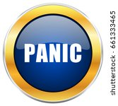 panic blue web icon with golden ... | Shutterstock . vector #661333465