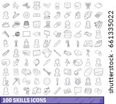 100 skills icons set in outline ... | Shutterstock .eps vector #661335022