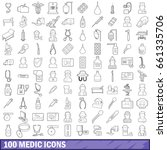 100 medic icons set in outline... | Shutterstock .eps vector #661335706