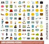 100 lending icons set in flat... | Shutterstock .eps vector #661335736