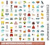 100 meteorological icons set in ... | Shutterstock .eps vector #661336012