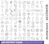 100 festivity icons set in... | Shutterstock .eps vector #661336438