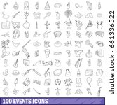 100 events icons set in outline ... | Shutterstock .eps vector #661336522