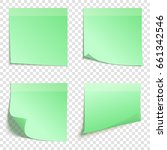set of square green sticky... | Shutterstock .eps vector #661342546