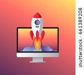 web start up flat style. rocket ... | Shutterstock .eps vector #661389208