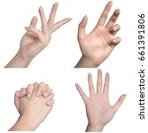 Small photo of Combine of Hand expression as handful, palm , swagger hand with the white background