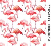 seamless pattern with flamingos.... | Shutterstock . vector #661393672