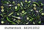 collection of fresh green fruit ... | Shutterstock . vector #661411012