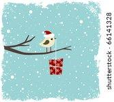 Winter Card With Bird And Gift...