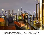 Stock photo bangkok city view point from rooftop bar overlooking a magnificent cityscape blue sky and city 661420615