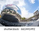 Small photo of La Geode Of Cite des Sciences et de l'Industrie Is A Mirror-Finished Geodesic Dome Which Located At Parc de la Villette Taken Using Fisheye Lens. The Cite Is The Biggest Science Museum In Europe.