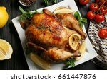 homemade baked chicken with... | Shutterstock . vector #661447876