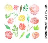 set of hand painted watercolor...   Shutterstock . vector #661449685
