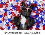 french bulldog waving a flag of ...   Shutterstock . vector #661482256