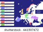 Flat high detailed Europe map. Capitals and country names. Divided into high detailed editable contours of countries. Info graphic elements.Template for your design works. Vector illustration.