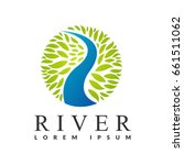 River Logo. Water With Leaf...