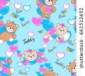 teddy bears seamless pattern.... | Shutterstock .eps vector #661512652
