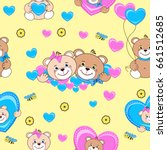 teddy bears seamless pattern.... | Shutterstock .eps vector #661512685