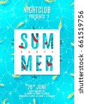 poster for summer party with... | Shutterstock .eps vector #661519756
