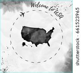 usa watercolor map in black... | Shutterstock .eps vector #661523965