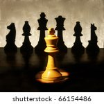 Small photo of chess man over business chart admonish to strategic behavior