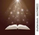 open book with mystic bright... | Shutterstock .eps vector #661548022