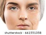 aging concept. comparison of... | Shutterstock . vector #661551358